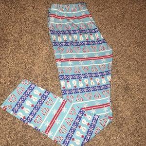 NWOT Christmas blue leggings candy cane snowflakes